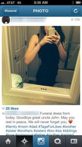 Selfie posté à un enterrement