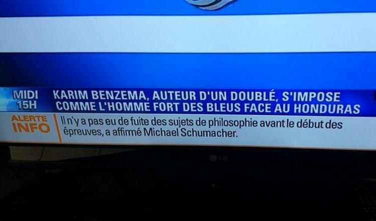 Michael Shumacher très informé sur le baccalauréat français selon BFMTV
