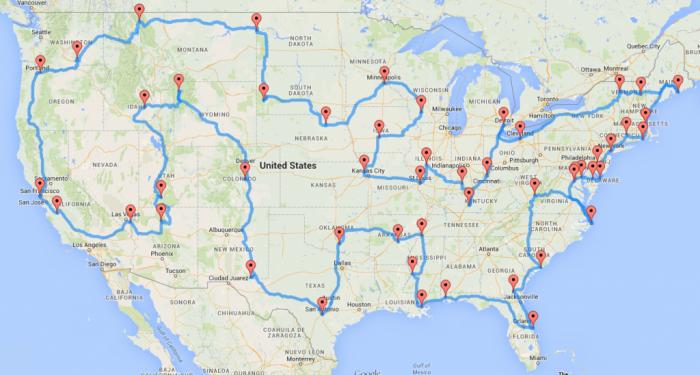 Un algorithme a calculé le road-trip idéal