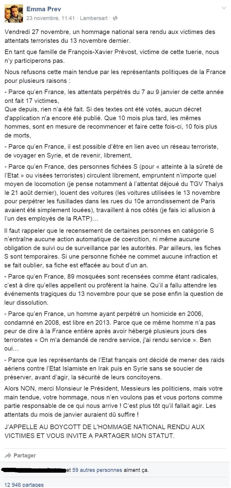 La sœur d'une victime du Bataclan refuse l'invitation de François Hollande qu'elle juge responsable