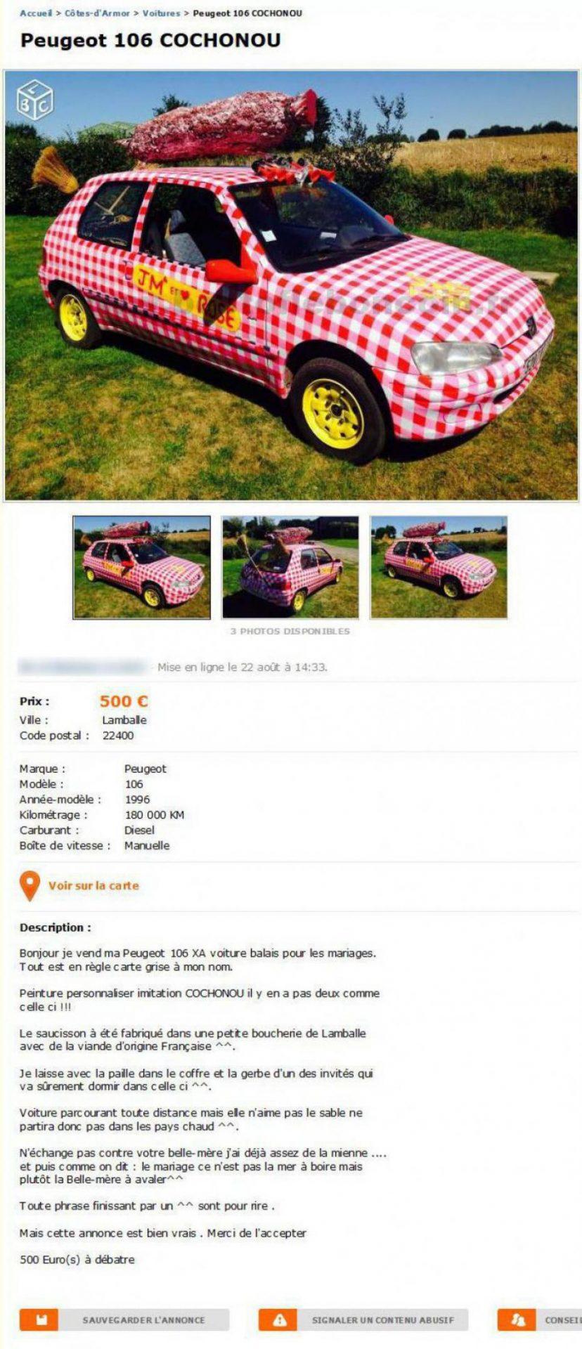 Pour 500€, offrez vous une Peugeot 106 Cochonou