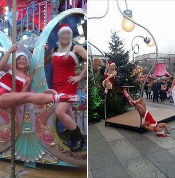 Deux danseuses de pole dance mettent le feu au marché de Noël et font polémique