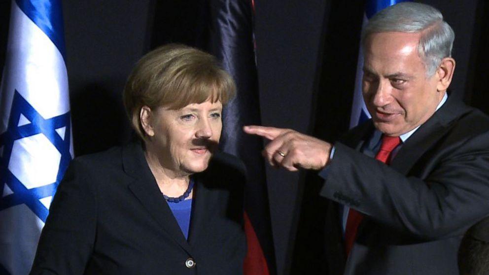 Le premier ministre israélien Netanyahu fait une moustache d'Hitler à Merkel