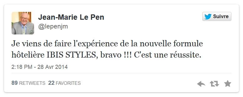 Quand Jean-Marie Le Pen fait de la publicité pour les hôtels Ibis