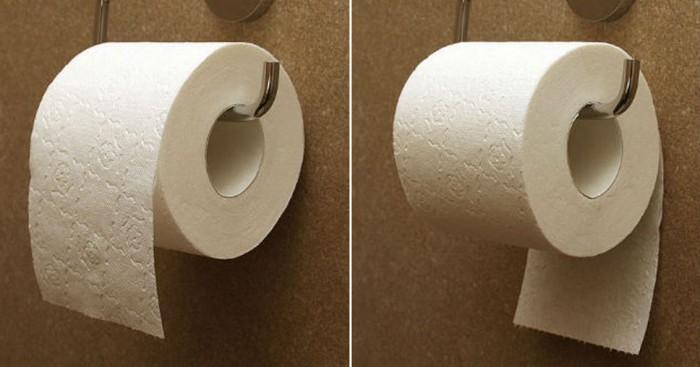 Faut-il mettre le rouleau de papier toilette de façon à ce que la feuille aille par-dessus ou par-dessous ?