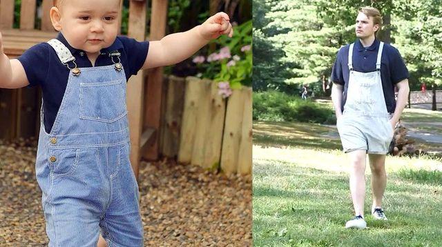 A 23 ans, il s'habille exactement pareil que le prince Georges (2 ans)
