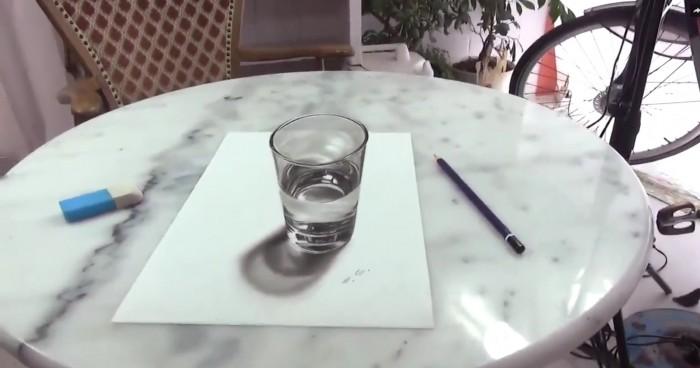 Ceci n'est pas un verre d'eau posé sur une table, regardez de plus près !