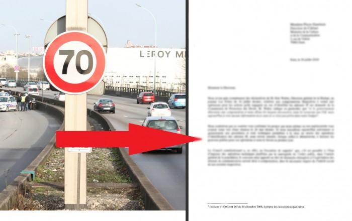 Il se fait flasher à 250 km/h au lieu de 70 mais démontre dans cette lettre que c'est légal !