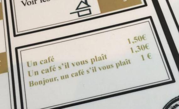 Un café qui change de prix en fonction de la politesse du client